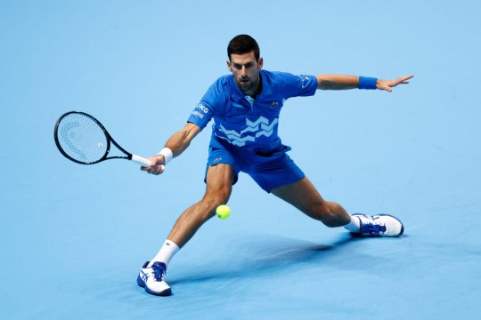 Novak Djokovic of Serbia plays a forehand during his singles match against Diego Schwartzman of Argentina on day two of the Nitto ATP World Tour Finals at The O2 Arena on November 16, 2020 in London, England.