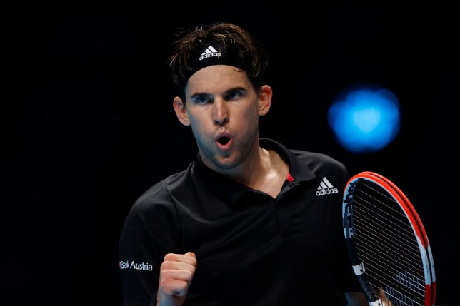 Dominic Thiem of Austria celebrates winning a point during his singles match against Rafael Nadal of Spain during day three of the Nitto ATP World Tour Finals at The O2 Arena on November 17, 2020 in London, England.