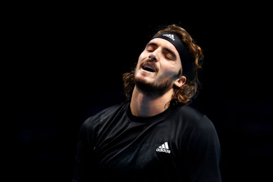 Stefanos Tsitsipas of Greece reacts during his match against Rafael Nadal of Spain during their third round robin match on Day Five of the Nitto ATP World Tour Finals at The O2 Arena on November 19, 2020 in London, England.