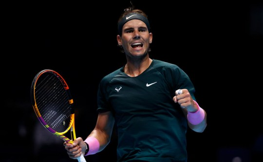 Rafael Nadal of Spain celebrates during his singles match against Stefanos Tsitsipas of Greece during day five of the Nitto ATP World Tour Finals at The O2 Arena on November 19, 2020 in London, England.