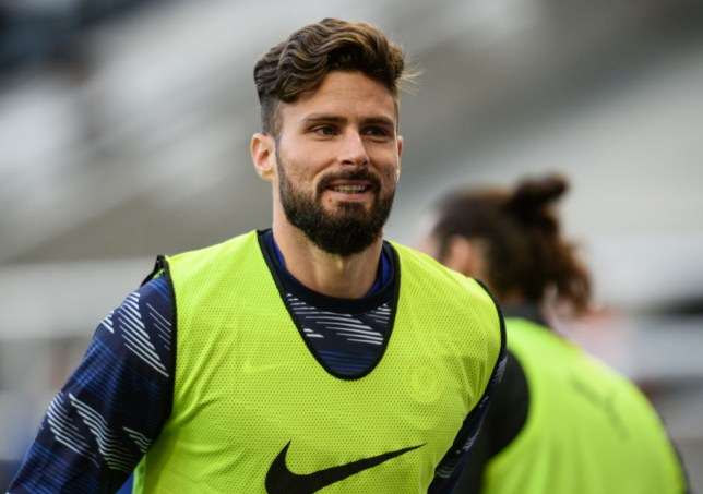 Olivier Giroud looks on ahead of Chelsea's Premier League clash with Newcastle