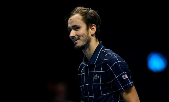 Daniil Medvedev of Russia celebrates after his victory over Rafael Nadal of Spain on Day 7 of the Nitto ATP World Tour Finals at The O2 Arena on November 21, 2020 in London, England.
