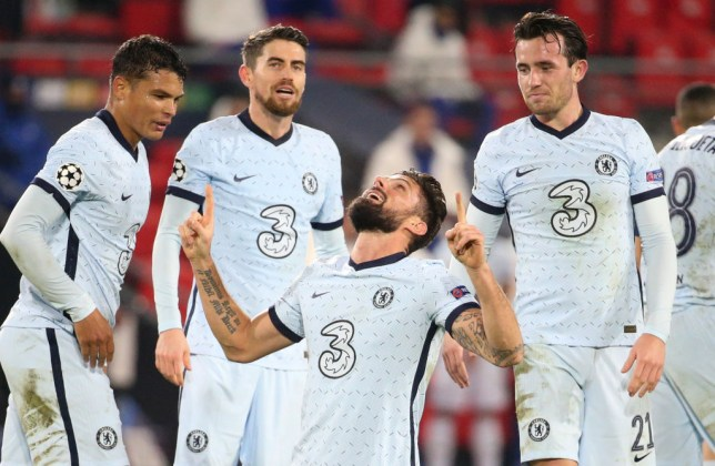 Olivier Giroud celebrates his goal in Chelsea's win over Rennes in the Champions League