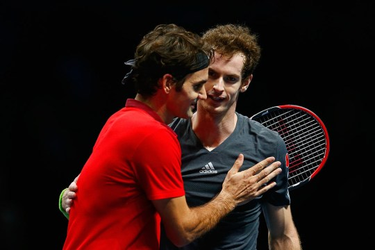 Andy Murray of Great Britain congratulates Roger Federer of Switzerland after the round robin singles match  on day five of the Barclays ATP World Tour Finals at O2 Arena on November 13, 2014 in London, England.