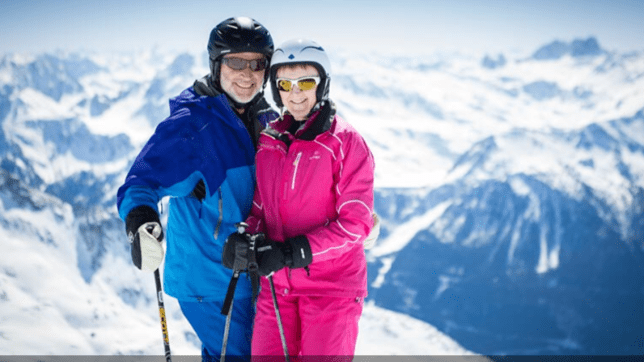 Jane Parker and her husband skiing