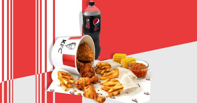 KFC meal in red and white background