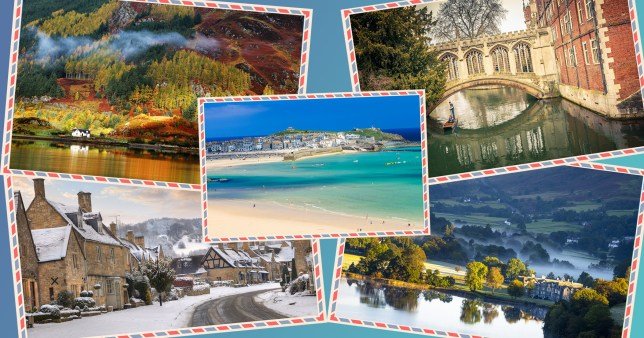 holiday spots in the UK on postcards