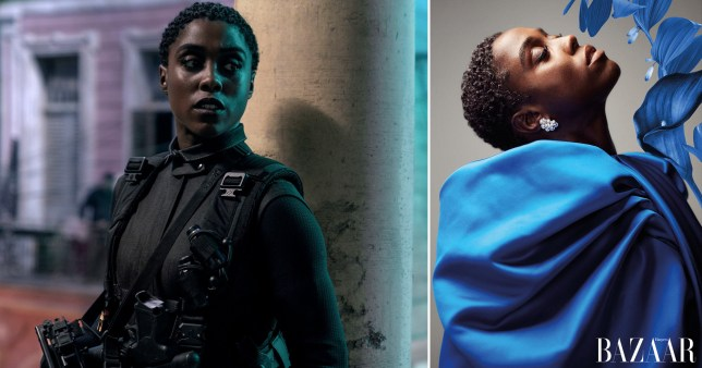 Lashana Lynch in James Bond and on the cover of Harper's Bazaar.
