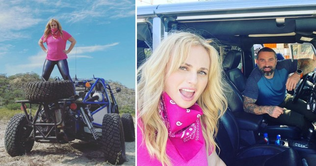 Rebel Wilson pictured on dune buggy and with Ant Middleton