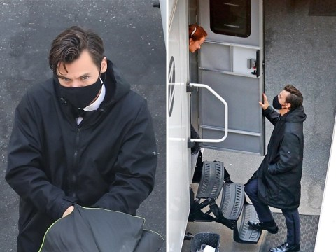 Harry Styles looks all kinds of dapper as he visits Olivia Wilde's trailer on Don't Worry Darling set