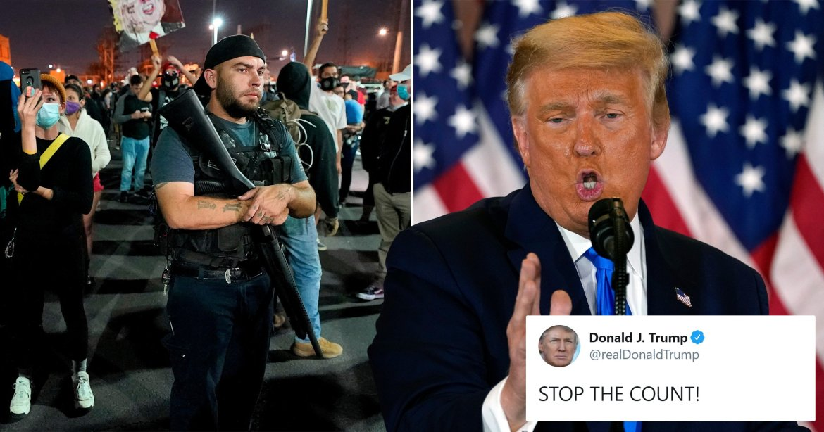 Raging Donald Trump tweets 'STOP THE COUNT' as his armed supporters demand  it continues | Metro News