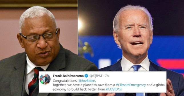 The prime minister of Fiji has become the first world leader to send his congratulations to Joe Biden - despite the US election race not being called yet