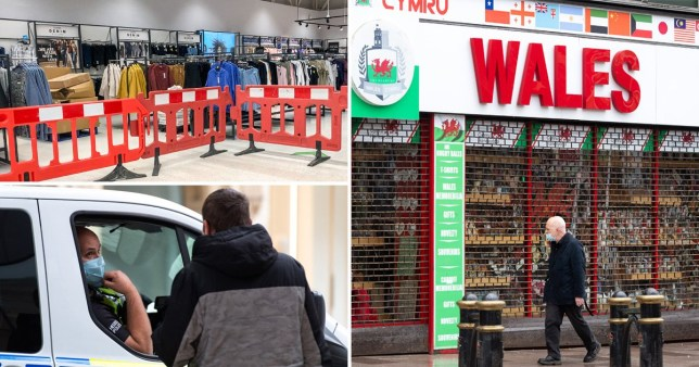 Compilation image of a man talking to a van driver, sealed off 'non-essential' goods in a supermarket and a man walking past a shop which simply says 'Wales'.