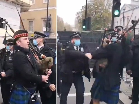 Bagpiper shoved to ground by police while trying to play at Remembrance service