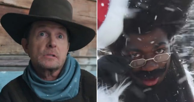 Lil Nas X and Michael J Fox in Holiday film clip.