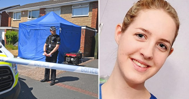 Composite image Lucy Letby and crime scene outside her home in Cheshire