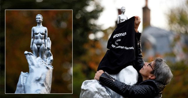 The Mary Wollstonecraft statue is covered with a 'woman' t-shirt amid backlash over its nudity