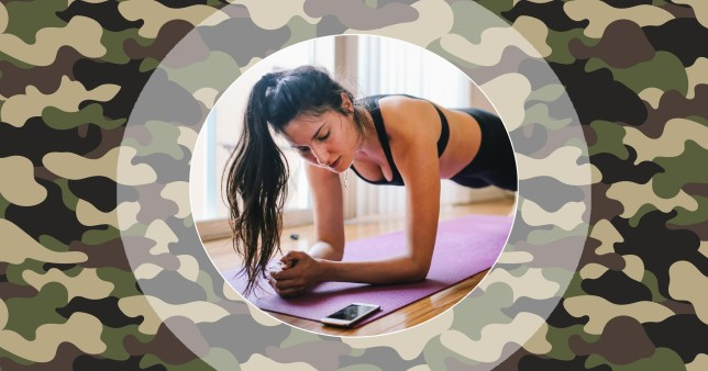 Woman working out with camouflage background