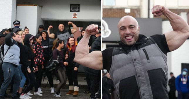 Andreas Michli and protesters outside Zone Gym, Wood Green, north London. Michili was fined £67,000 for refusing to close his gym after police officers were deployed to stop people from entering the venue.