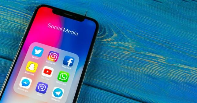 Smartphone showing popular social media apps