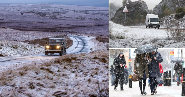 Widespread snow is predicted in Scotland and northern England as temperatures plummet
