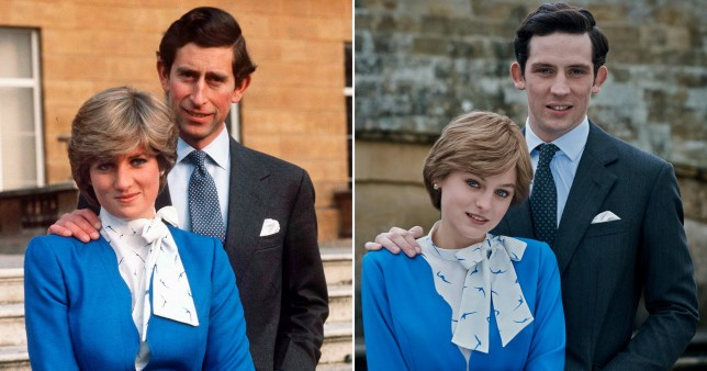 Prince Charles and princess diana, and The Crown's Emma Corrin and Josh O'Connor