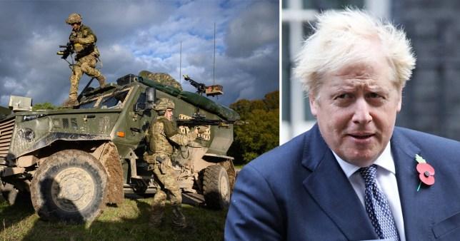 Composite image Boris Johnson army defence