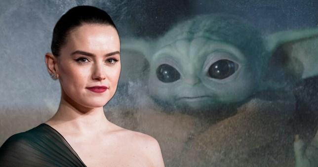 Daisy Ridley and Baby Yoda in The Mandalorian