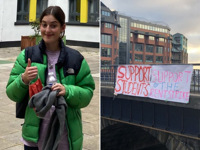 A student taking part in a rent strike has spoken of her disgust after her university threatened to remove a bursary intended as a 'gift' to help her study.