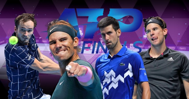 ATP Finals semi-finalists Rafael Nadal, Daniil Medvedev, Novak Djokovic and Dominic Thiem all look on