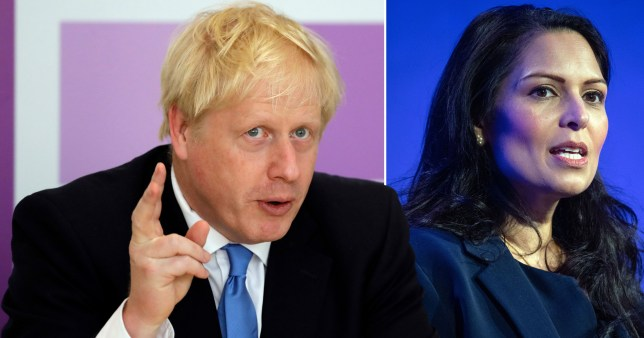 Primie Minister Boris Johnson, who has been accused of trying to get a report into Priti Patel (also pictured) 'watered down'