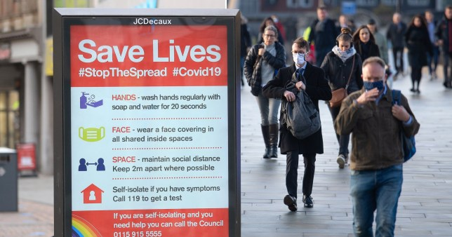 Coronavirus sign reminding people of social distancing