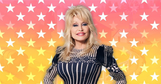 Dolly Parton pictured in front of star background