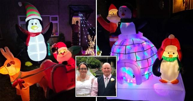 Christmas lights and couple