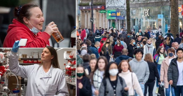 Crowds wearing face masks out shopping while a woman enjoys an open air pints with her face mask around her chin. Another picture shows a vaccine scientist.