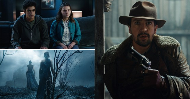 Amir Wilson, Dafne Keen, Lee Scoresby and the witches in His Dark Materials