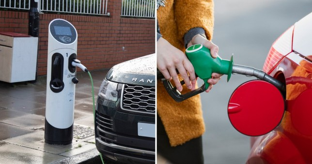 Comparison of drivers charging up and refuelling cars