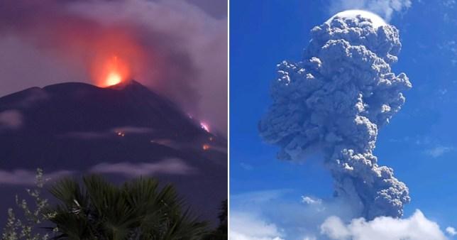 Mt.  Le volcan Ile Lewotolok est entré en éruption aujourd'hui