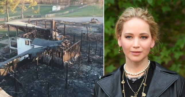 Actress Jennifer Lawrence alongside the a burnt barn