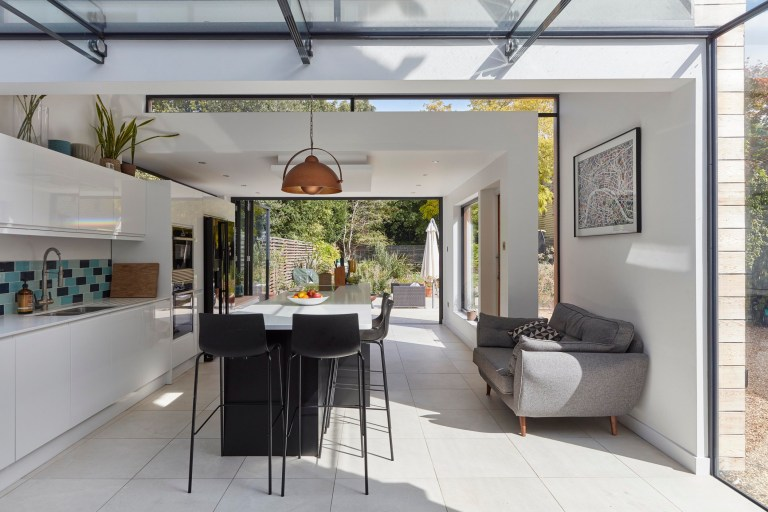 The kitchen and living space that opens out into the garden