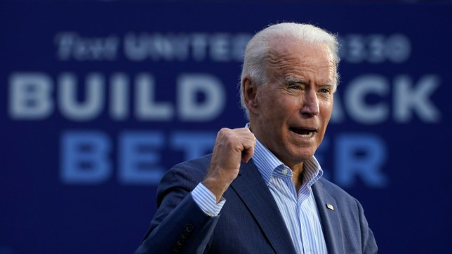 Democratic presidential candidate former Vice President Joe Biden speaks at the Plumbers Local Union No. 27 training center, Saturday, Oct. 10, 2020, in Erie, Pa. (AP Photo/Carolyn Kaster)