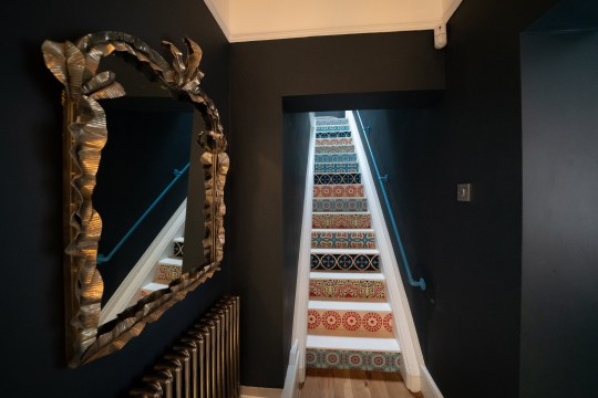 The stairs with tiles sourced from Etsy