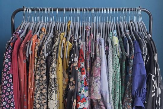 lauren bravo's clothes rail in her home