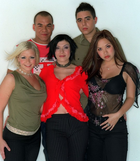 Hear'Say members Myleene Klass, Kym Marsh, Suzanne Shaw, Noel Sullivan and Danny Foster