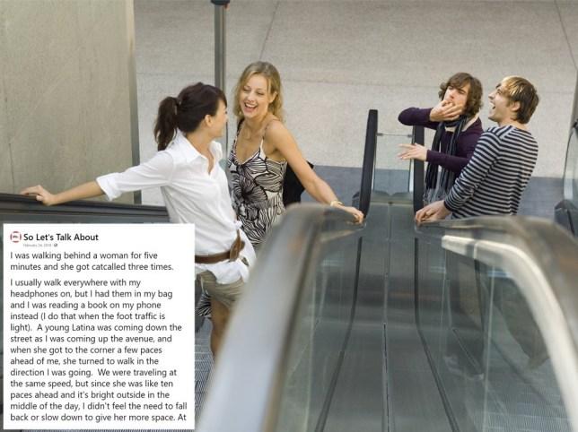 Men catcalling women on escalators