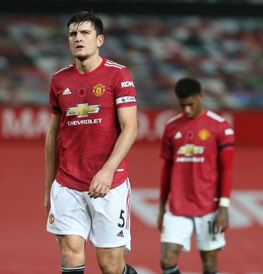 Harry Maguire of Manchester United walks off after the Premier League match between Manchester United and Arsenal at Old Trafford on November 01, 2020 in Manchester, England