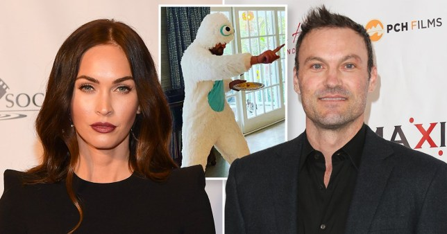Megan Fox and Brian Austin Green with son Journey in Halloween costume