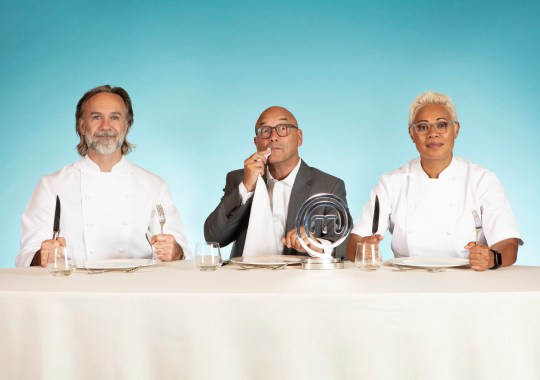MasterChef judges Marcus Wareing, Gregg Wallace and Monica Galetti at a table