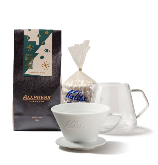 Allpress coffee home brew kit, featuring 250g of Allpress Christmas Blend, a Kalita Cone and filter papers and a 500ml Kinto Glass server.
