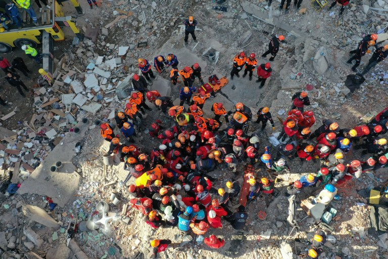 IZMIR, TURKEY - NOVEMBER 03: A drone photo shows 4-year-old Ayla Gezgin, being pulled from the debris of Riza Bey apartment, 91 hours after a magnitude 6.6 quake shook Turkey's Aegean Sea coast, in Izmir, Turkey on November 03, 2020. (Photo by Orhan Fatih Dogan/Anadolu Agency via Getty Images)